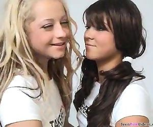 Blonde Teen Fucks A Brunette..