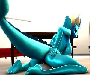 Vaporeon takes dildo in her pussy..