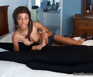 Thin Mistress Tortures His Cock..