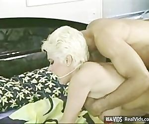 Busty blonde milf analized on sofa