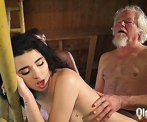 Old man puts his..