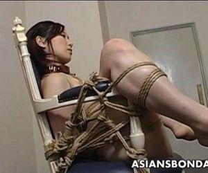 Extreme bondage and dildo fuck..