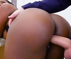 Hot black babe fucked hard by a..