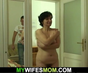 Hairy mother-in-law rides his..