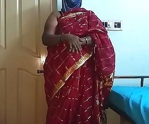 desi indian tamil telugu kannada malayalam hindi horny cheating wife vanitha wearing cherry red colour saree showing big boobs and shaved pussy press hard boobs press nip rubbing pussy masturbation 10 min HD+