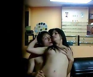 Young couple hot honeymoon sex