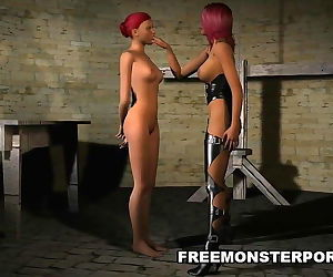 3D Lesbian Babe Fucked with a Strapon
