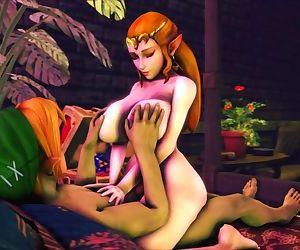 Zelda Rides Links Cock While He Plays With Her Fat Tits