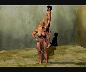 3D Musclegirl lift and blowjob little guy.