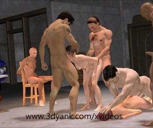 3d Anime Garage Interracial Gangbang from 3D yank - 6 min HD