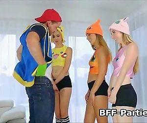 Fucking three blonde teen PokeHoes 7 min