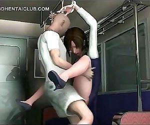 Big boobed hentai babe sucking and riding hard dick 5 min