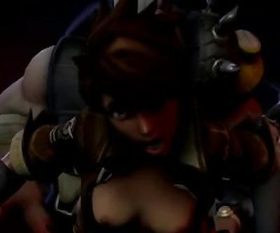Tracer from Overwatch getting anal fucked