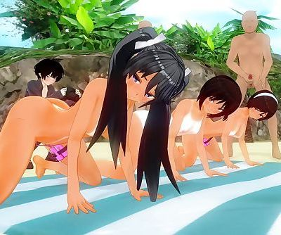 3D MMD Summer Beach Sun Tan Orgy Fun