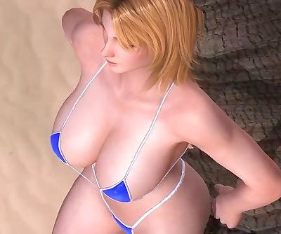 Dead or Alive 5 1.09BH - Tina Relax by a Tree on a Beach w/ Sexy Outfits