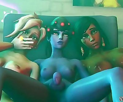 Hot Overwatch futa chicks enjoy hard pussy ramming 9 min 720p