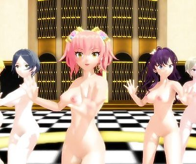 3D MMD IDOLM@STER Babes Bouncing Their Titties to Bar Bar Bar