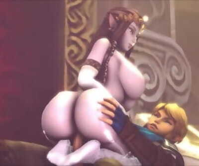 Big-Titted Zelda Rides Links Fat Cock