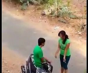 Indian lover hot kiss in road -..