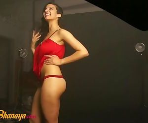 Sexy Indian Model Babe Shanaya In Red Top Giving Hot Poses..