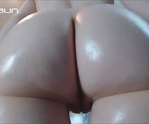 Small Tits Pale Girl Full Body Oil and Ass Jiggling