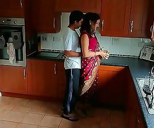 Red saree Bhabhi caught watching porn seduced and fucked..