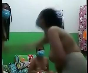 Asian hostel girls going nude in group for the thrilling..