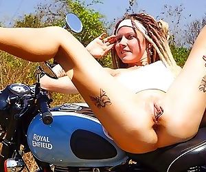 Outdoor anal sex with James Bongs girl on the motorbike...