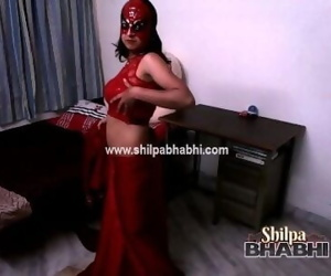 Sexy Shilpa Bhabhi Indian Wife In Red Saree Stripping..