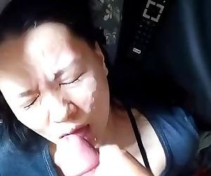 HUGE cumshot facial on Japanese..