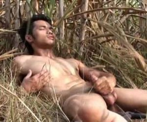 Asian Model Jerk off Outdoor
