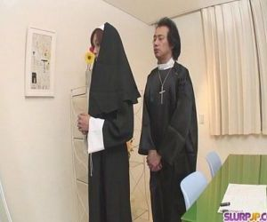 Naughty Nun spreads wide and..