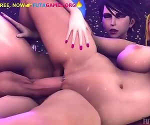 Rough hard pussy fuck with futa and girl, 3d futa game