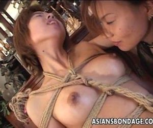 Bound Japanese cutie fingered by a horny mistress - 8 min