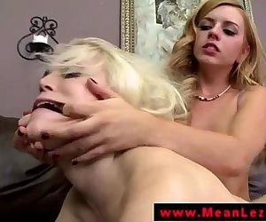 LEZDOM blonde lesbian queens petite sub
