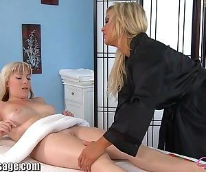 AllGirlMassage Two Blonde Babes Lesbian Sex Toy MassageHD