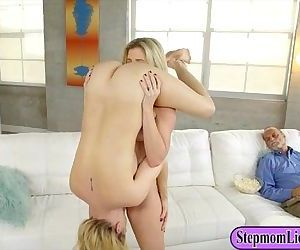 Cory Chase and Sierra Nicole intimate lesbo sex on the couch