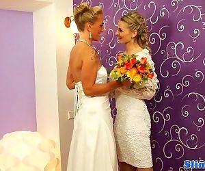 Bukkake lesbian brides cum..