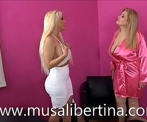 Musa Libertina and Blondie Fesser in lesbian lust massage