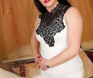 Dark haired British female Sarah..
