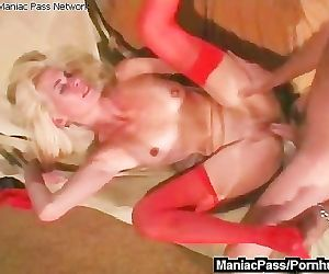 Sex with mature in red nylons