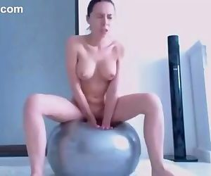 Best way to use fitness ball. Busty brunette student rides dildo