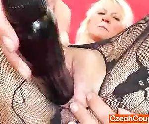 Blonde amateur-mom fucking herself plus a dildo