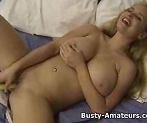 Busty Mariah masturbates her pussy