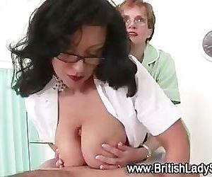 Mature big tits nurse give handjob