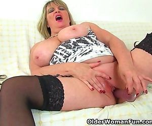 British milf Alisha Rydes massages her big tits and fucks a dildo