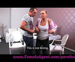 FemaleAgent. Keen stud pesters agent into casting
