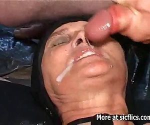 Fisting and pissing on the old slut - 5 min