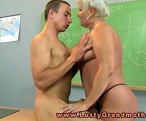 Granny amateur teacher pleasured on desk - 7 min