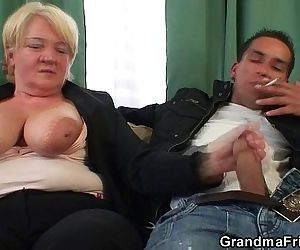 Two dudes bang boozed old granma - 6 min HD